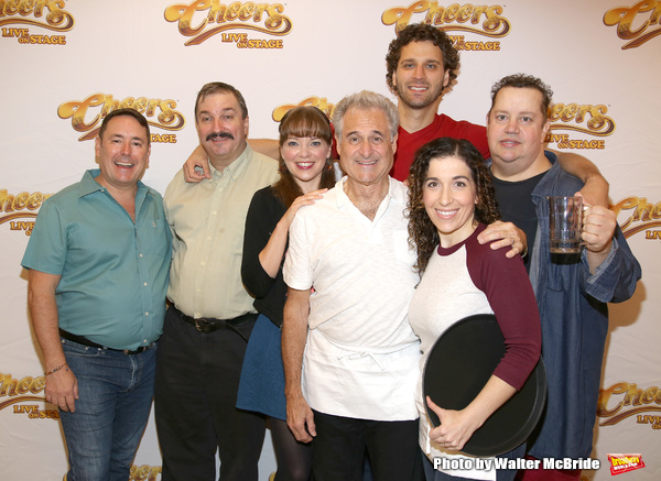 Director Matt Lenz (left) with the cast of Cheers Live on Stage: Buzz Roddy (Cliff), Jillian Louis (Diane), Barry Pearl (Coach), Grayson Powell (Sam), Sarah Sirota (Carla), and Paul Vogt (Norm)