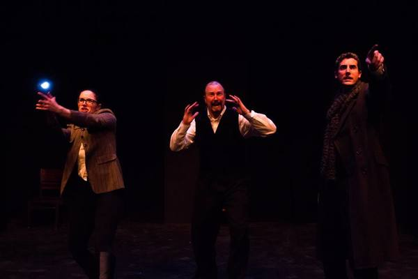 """(L to R) KAYLA CRAWFORD (Dr. Watson), GARY CHAMBERS (Sir Henry) and JACOB TICE (Sherlock Holmes) from the Lakewood Playhouse Production of """"The 3 Person Comedic HOUND OF THE BASKERVILLES"""""""