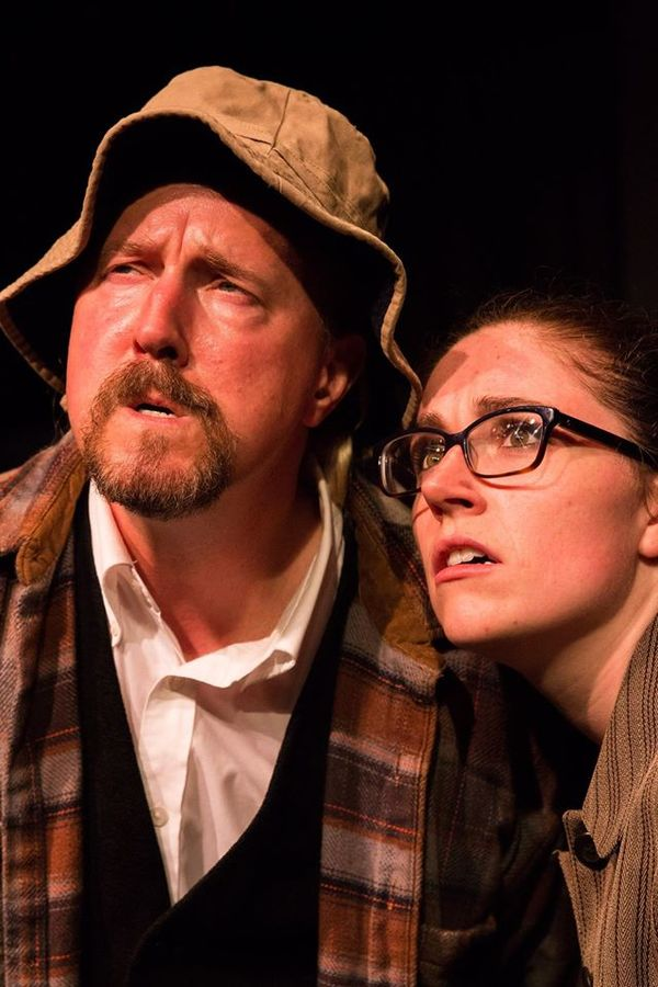 """(L to R) GARY CHAMBERS (as a Yokel) and KAYLA CRAWFORD (Dr. Watson) from the Lakewood Playhouse Production of """"The 3 Person Comedic HOUND OF THE BASKERVILLES"""""""