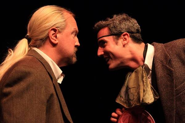 """(L to R) GARY CHAMBERS (Sir Henry) and JACOB TICE (Stapleton) from the Lakewood Playhouse Production of """"The 3 Person Comedic HOUND OF THE BASKERVILLES"""""""