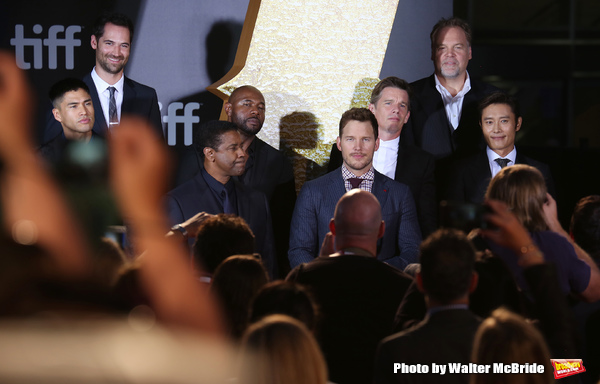Martin Sensmeier, Manuel Garcia-Rulfo, Denzel Washington,  Antoine Fuqua, Chris Pratt, Ethan Hawke, Vincent D'Onofrio and Byung-Hun Lee