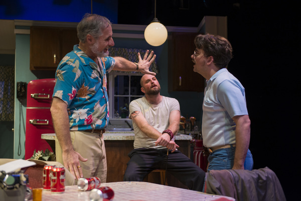 (left to right) Rob Frankel, Joseph Wiens and Kevin Viol in Shattered Globe Theatre's production of TRUE WEST by Sam Shepard, directed by James Yost. Photo by Michael Brosilow.