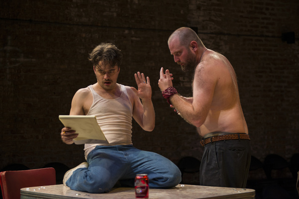 (left to right) Kevin Viol and Joseph Wiens in Shattered Globe Theatre's production of TRUE WEST by Sam Shepard, directed by James Yost. Photo by Michael Brosilow.