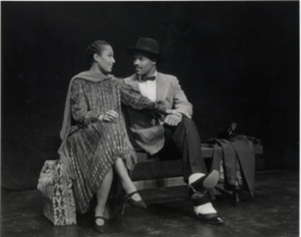 Elizabeth Van Dyke and Joseph Lewis Edwards in Zora Neale Hurston by Laurence Holder at The American Place Theatre, NYC, co-produced by The American Place and Woodie King, Jr.'s National Black Touring Circuit. Photo (1998) by Martha Holmes.