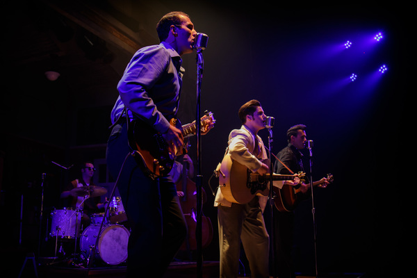 Carl Perkins (James Bock), Elvis Presley (Luke Linsteadt), and Johnny Cash (Justin Figueroa) jam out