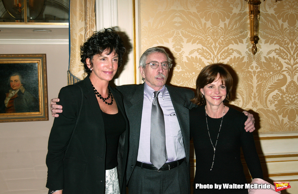 EDWARD ALBEE with his two stars from the Broadway production of THE GOAT or Who is Sylvia?.MERCEDES RUEHL and SALLY FIELD.Attending the Signature Theatre Company.Honors Event at the Essex House, New York City..May 5, 2003.