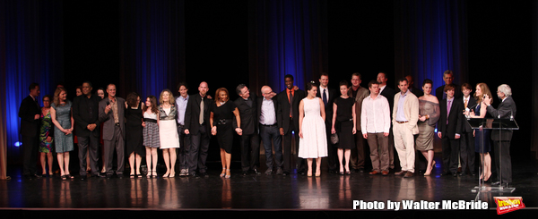 Edward Albee with Hallie Foote an the ensemble from THE OPPHAN'S HOME CYCLE.pictured during the 55th Annual Drama Desk Awards Ceremony Presentation, FH LaGuardia Concert Hall in New York City on May 23, 2010.