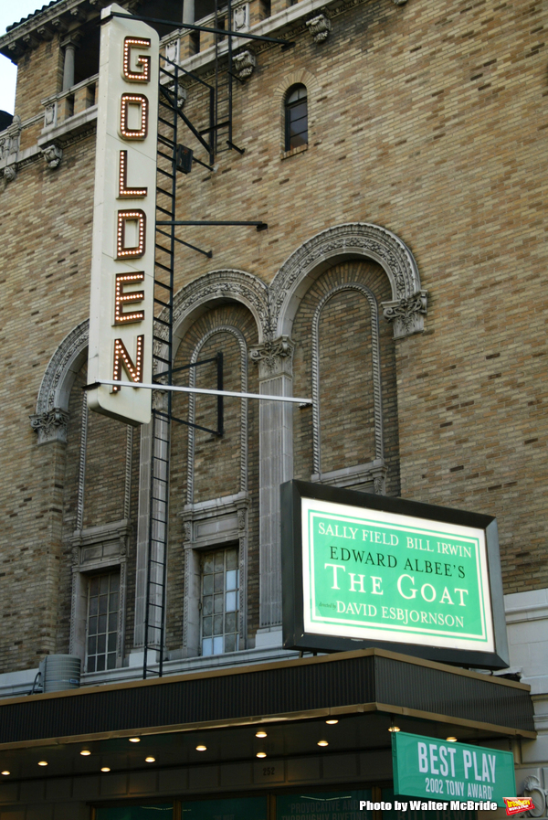 Sally Field and Bill Irwin .Star in the Edward Albee Play, The Goat.Golden Theatre.Theatre Marquee.Times Square, New York City.