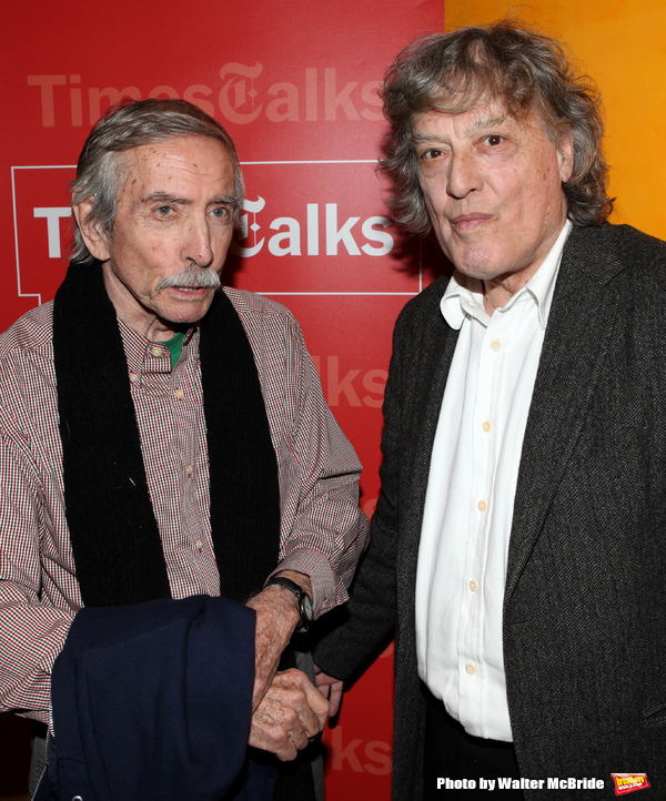 Edward Albee & Tom Stoppard backstage at Times Talks: A Conversation with Tom Stoppard at the Times Center in New York City.