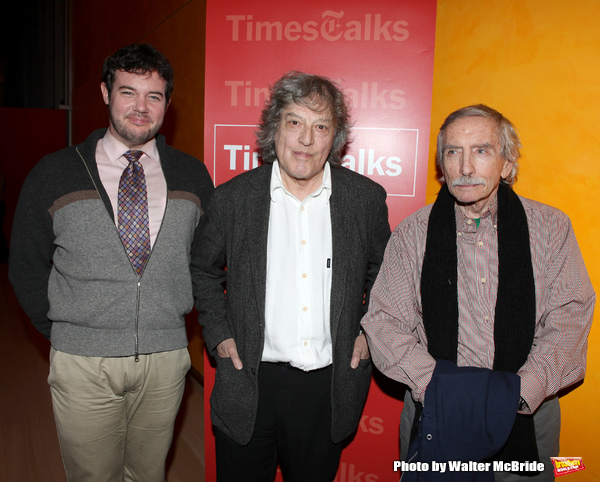 New York Times reporter Patrick Healy, Edward Albee & Tom Stoppard backstage at Times Photo