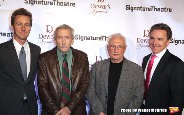 Edward Norton, Edward Albee, Frank Gehry and James Houghton .attending The Signature Theatre Center Opening Gala Celebration honoring Edward Norton in New York City on 1/30/2012..