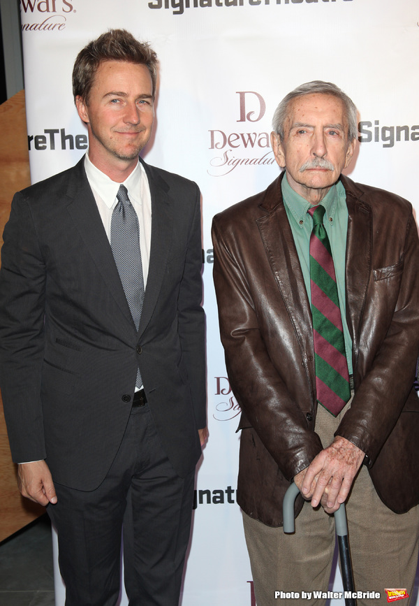 Edward Norton & Edward Albee attending The Signature Theatre Center Opening Gala Celebration honoring Edward Norton in New York City on 1/30/2012..