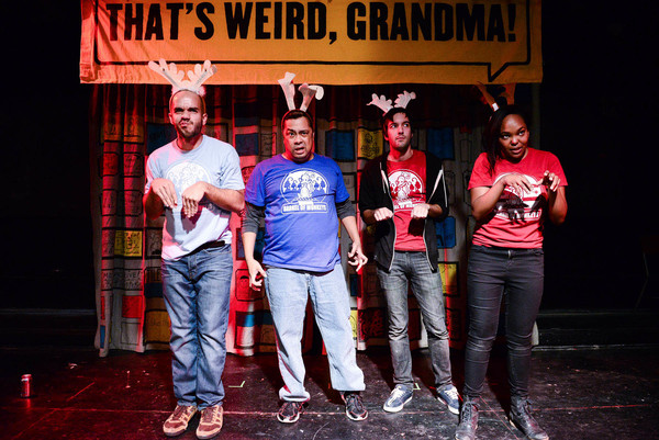 Barrel of Monkeys company members Brandon Cloyd, Linsey Falls, Nick Hart and Ashley Bland perform 'The Marshmallow' in in THAT'S WEIRD, GRANDMA: THE HOLIDAY SPECIAL