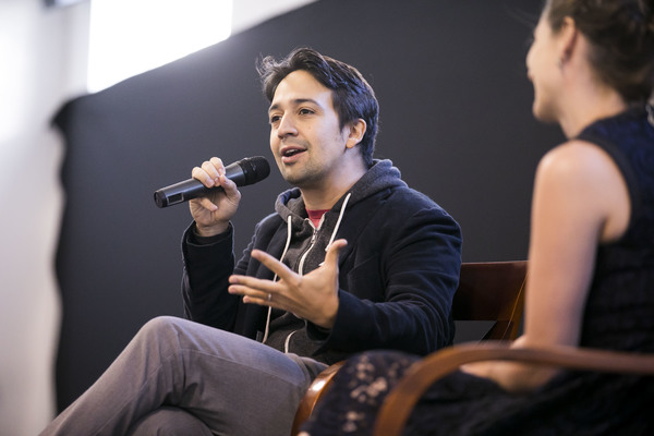 Lin-Manuel Miranda, creator and original star of Hamilton: An American Musical, in conversation with Suzanne Appel, Hubbard Street's Director of External Affairs, at the Hubbard Street Dance Center in Chicago.