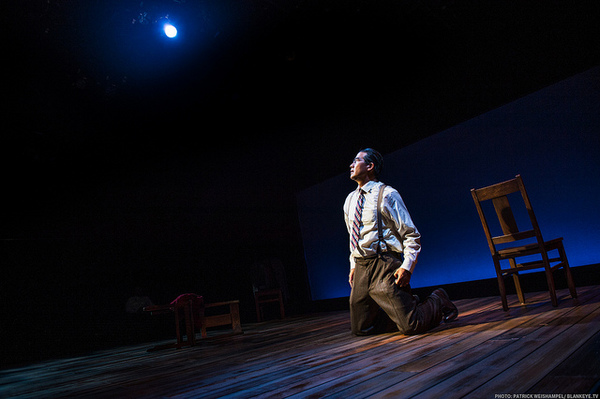 "Ryun Yu as Gordon Hirabayashi in ""Hold These Truths"" at The Armory. Photo credit: Patrick Weishampel"