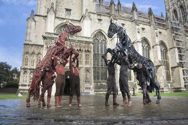 Joey and Topthorn, from the National Theatre's War Horse, outside Canterbury Cathedral. War Horse featured in the gala performance, ahead of its month-long run at The Marlowe in September 2017.