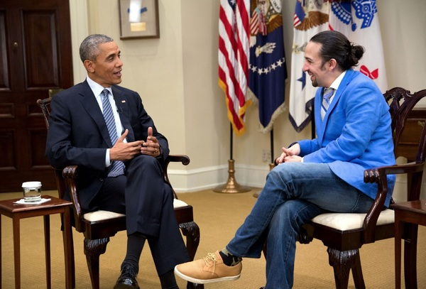 Barack Obama and Lin-Manuel Miranda