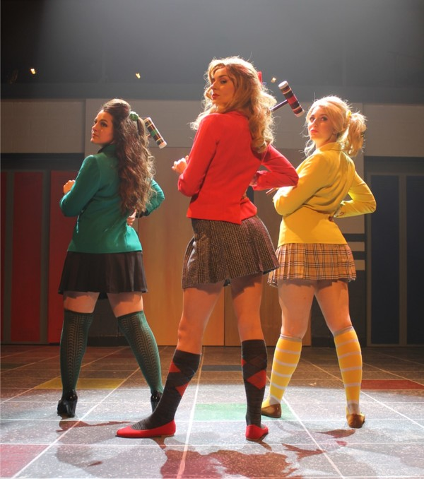 Deanna Giulietti (Heather Duke), Melody Wilson (Heather Chandler), Mary Mondlock (Heather McNamara)