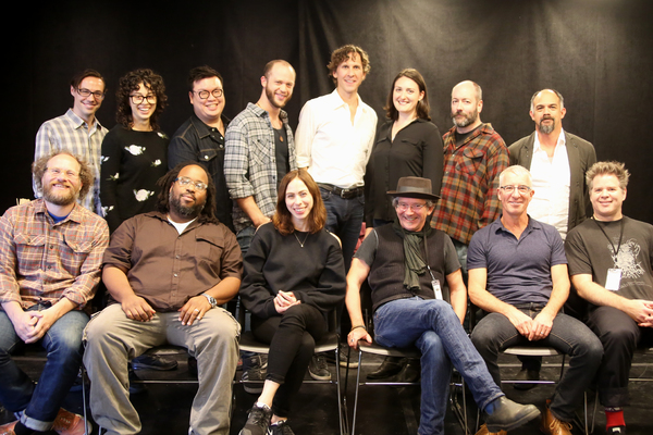 The cast of THE SERVANT OF TWO MASTERS (Top L. to R.) Aidan Eastwood, Adina Verson, Eugene Ma, Sam Urdang, Aaron Halva, Liz Wisan, Liam Craig, Orlando Pabotoy, (Bottom L. to R.) Andy Grotelueschen, Jacob Ming-Trent, Emily Young, Christopher Bayes, Steven