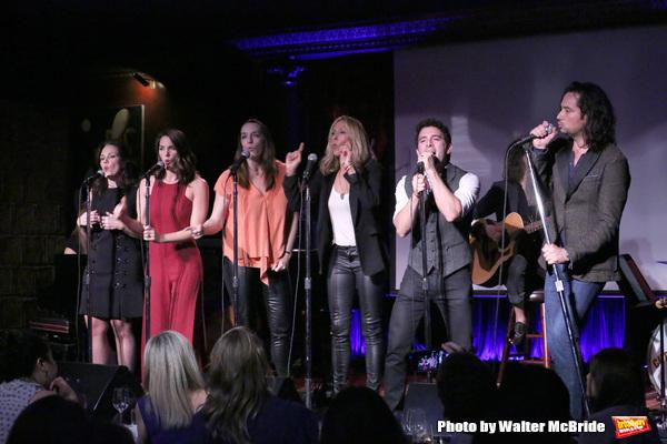 Georgia Stitt, Kelli Barrett, Julia Murney, Amanda Green, Jarrod Spector and Constantine Maroulis