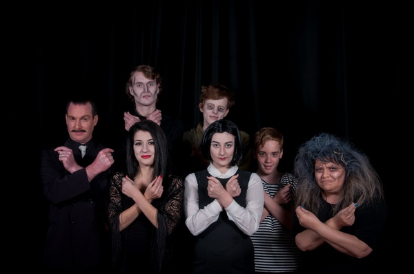 They're creepy and they're kooky – Paul Reed, left, Holly Denton, Declan Roden, Callum Siegmund, Olivia McGavock, Charlie Martin and Ruby Reye are appearing in The Addams Family. Picture: Jarrad Sharman