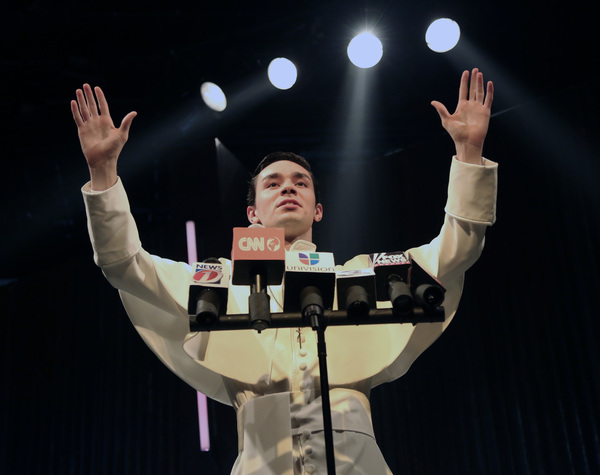 Aidan Marchetti is Pope Felipe in NUEVO CALIFORNIA by Bernardo Solano and Allan Havis onstage in Connecticut Repertory Theatre's Studio Theatre October 27-November 6, 2016.  Info at crt.uconn.edu or 860-486-4799.  Photo by Gerry Goodstein.