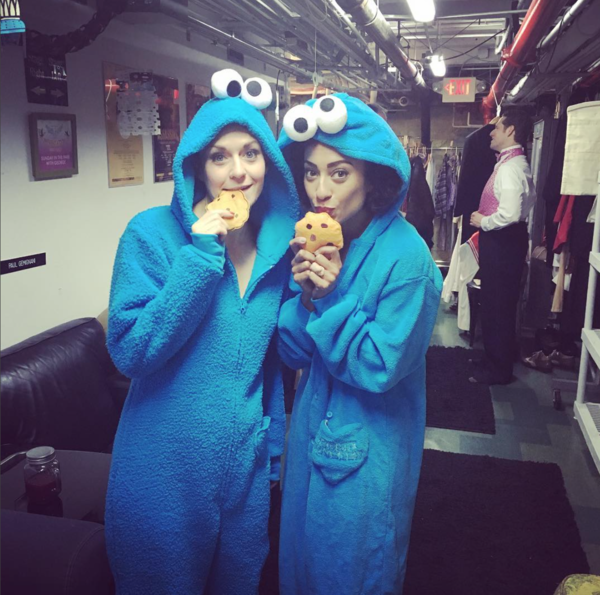 Holiday Inn (Broadway): @ shinamorris Cookie Monster twins at intermission. #holidayinnmusical #cookiemonster #halloweenedition #onesies #sip @rtc_nyc @megansikora