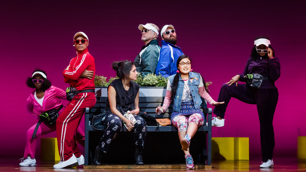 "The cast of La Jolla Playhouse's world-premiere musical MISS YOU LIKE HELL, book and lyrics by Quiara Alegría Hudes, music and lyrics by Erin McKeown, directed by Lear deBessonet, choreographed by Danny Mefford, running Oct 25 â€"" Dec 4 in the Mandell"