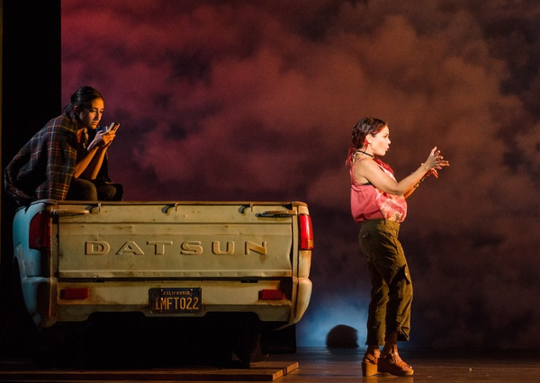 Krystina Alabado and Daphne Rubin-Vega (right) in La Jolla Playhouse's world-premiere musical MISS YOU LIKE HELL, book and lyrics by Quiara Alegría Hudes, music and lyrics by Erin McKeown, directed by Lear deBessonet, choreographed by Danny Mefford, ru