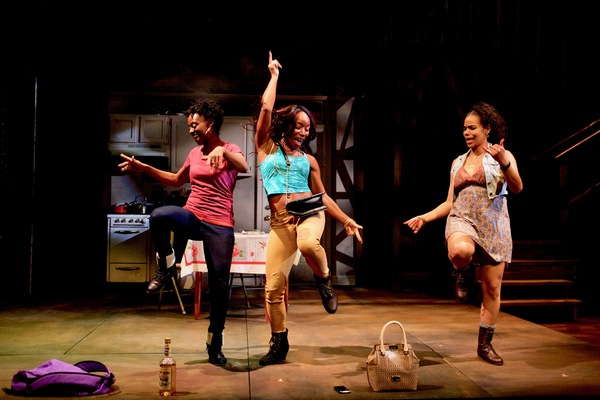 (L to R) Kashayna Johnson as Annie, Renee Elizabeth Wilson as Talisha, and Ghislaine Dwarka as Margie in Milk Like Sugar at Mosaic Theater Company of DC, November 2-27, 2016. Photo by Ryan Maxwell.