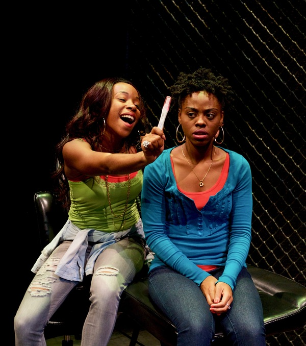 (L to R) Renee Elizabeth Wilson as Talisha and Kashayna Johnson as Annie in Milk Like Sugar at Mosaic Theater Company of DC, November 2-27, 2016. Photo by Ryan Maxwell.
