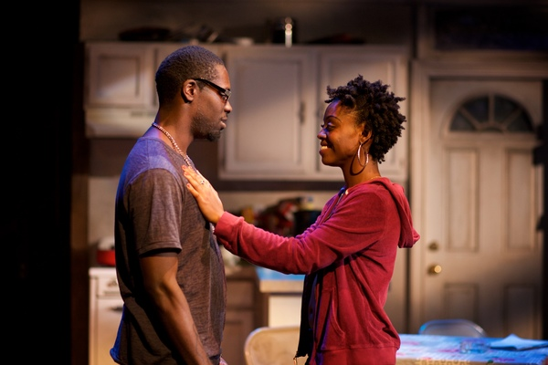 (L to R) Jeremy Keith Hunter as Antwoine and Kashayna Johnson as Annie in Milk Like Sugar at Mosaic Theater Company of DC, November 2-27, 2016. Photo by Ryan Maxwell.