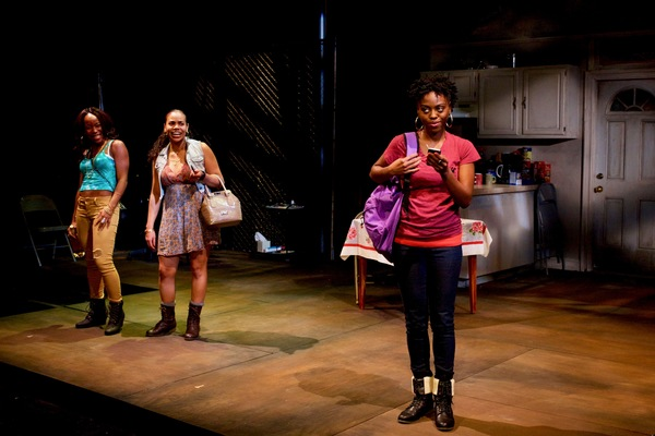 (L to R) Renee Elizabeth Wilson as Talisha, Ghislaine Dwarka as Margie, and Kashayna Johnson as Annie in Milk Like Sugar at Mosaic Theater Company of DC, November 2-27, 2016. Photo by Ryan Maxwell.