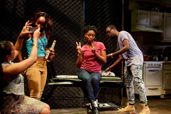 (L to R) Ghislaine Dwarka as Margie, Renee Elizabeth Wilson as Talisha, Kashayna Johnson as Annie, and Jeremy Keith Hunter as Antwoine in Milk Like Sugar at Mosaic Theater Company of DC, November 2-27, 2016. Photo by Ryan Maxwell.