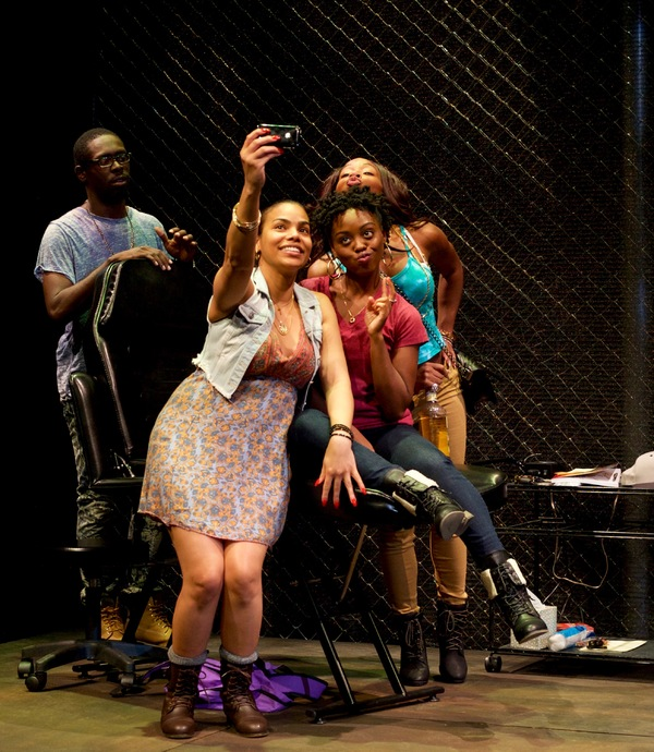 (Counterclockwise from left) Jeremy Keith Hunter as Antwoine, Ghislaine Dwarka as Margie, Kashayna Johnson as Annie, and Renee Elizabeth Wilson as Talisha in Milk Like Sugar at Mosaic Theater Company of DC, November 2-27, 2016. Photo by Ryan Maxwell.