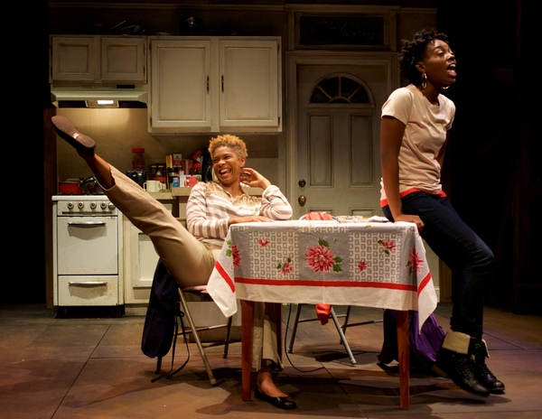 (L to R) Diedra LaWan Starnes as Myrna and Kashayna Johnson as Annie in Milk Like Sugar at Mosaic Theater Company of DC, November 2-27, 2016. Photo by Ryan Maxwell.