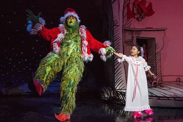 "J. Bernard Calloway as The Grinch and Mikee Castillo as Cindy-Lou Who in Dr. Seuss' How the Grinch Stole Christmas!, directed by James Vásquez, running Nov. 5 â€"" Dec. 26, 2016 at The Old Globe. Photo by Jim Cox."