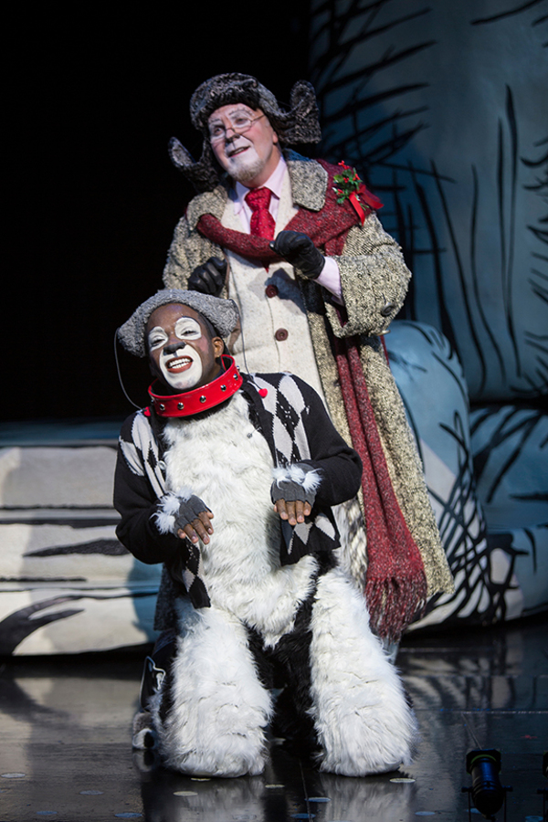 "(from top) Steve Gunderson as Old Max and Tyrone Davis, Jr. as Young Max in Dr. Seuss' How the Grinch Stole Christmas!, directed by James Vásquez, running Nov. 5 â€"" Dec. 26, 2016 at The Old Globe. Photo by Jim Cox."