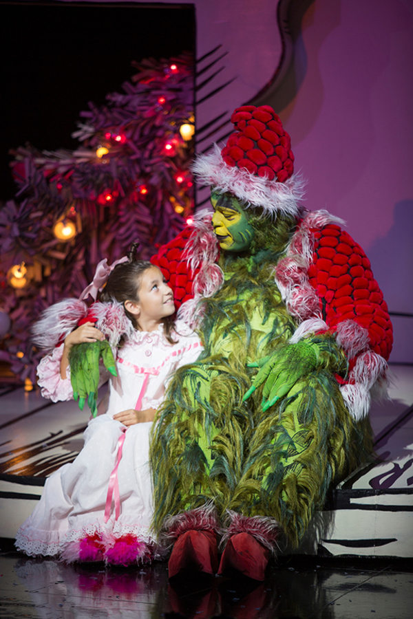 "Mia Davila as Cindy-Lou Who and J. Bernard Calloway as The Grinch in Dr. Seuss' How the Grinch Stole Christmas!, directed by James Vásquez, running Nov. 5 â€"" Dec. 26, 2016 at The Old Globe. Photo by Jim Cox."