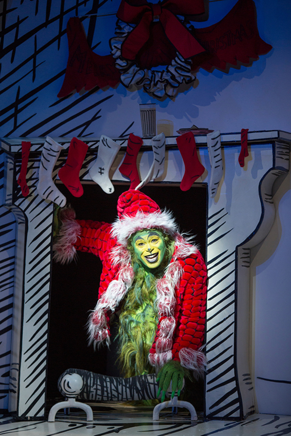 "J. Bernard Calloway as The Grinch in Dr. Seuss' How the Grinch Stole Christmas!, directed by James Vásquez, running Nov. 5 â€"" Dec. 26, 2016 at The Old Globe. Photo by Jim Cox."