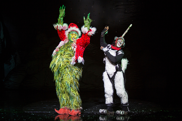 "(from left) J. Bernard Calloway as The Grinch and Tyrone Davis, Jr. as Young Max in Dr. Seuss' How the Grinch Stole Christmas!, directed by James Vásquez, running Nov. 5 â€"" Dec. 26, 2016 at The Old Globe. Photo by Jim Cox."