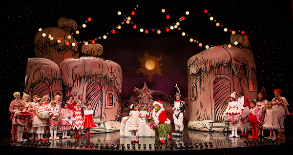 """The cast of Dr. Seuss' How the Grinch Stole Christmas!, directed by James Vásquez, running Nov. 5 â€"""" Dec. 26, 2016 at The Old Globe. Photo by Jim Cox."""