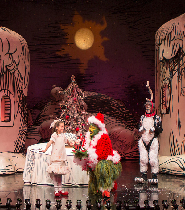 "(from left) Mia Davila as Cindy-Lou Who, J. Bernard Calloway as The Grinch, and Tyrone Davis, Jr. as Young Max in Dr. Seuss' How the Grinch Stole Christmas!, directed by James Vásquez, running Nov. 5 â€"" Dec. 26, 2016 at The Old Globe. Photo by Jim Cox"