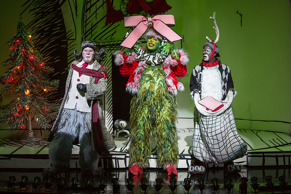 "(from left) Steve Gunderson as Old Max, J. Bernard Calloway as The Grinch, and Tyrone Davis, Jr. as Young Max in Dr. Seuss' How the Grinch Stole Christmas!, directed by James Vásquez, running Nov. 5 â€"" Dec. 26, 2016 at The Old Globe. Photo by Jim Cox."