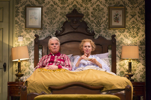 Malcolm Ingram and Patricia Hodges in the Huntington Theatre Company's production of Bedroom Farce, directed by Maria Aitken, playing November 11 - December 11, 2016, Avenue of the Arts/BU Theatre. © Photo: T. Charles Erickson.