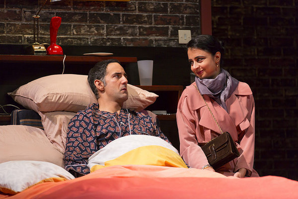 Nael Nacer and Mahira Kakkar in the Huntington Theatre Company's production of Bedroom Farce, directed by Maria Aitken, playing November 11 - December 11, 2016, Avenue of the Arts/BU Theatre. © Photo: T. Charles Erickson.