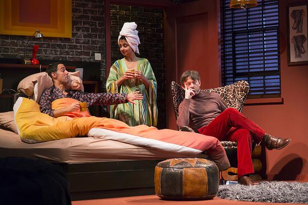 Nael Nacer, Mahira Kakkar, and Karl Miller in the Huntington Theatre Company's produc Photo