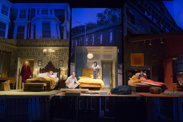 Malcolm Ingram, Patricia Hodges, Richard Hollis, Emma Kaye, and Nael Nacer in the Huntington Theatre Company's production of Bedroom Farce, directed by Maria Aitken, playing November 11 - December 11, 2016, Avenue of the Arts/BU Theatre. © Photo: T. Char