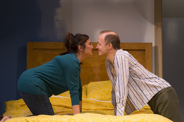 Emma Kaye and Richard Hollis in the Huntington Theatre Company's production of Bedroom Farce, directed by Maria Aitken, playing November 11 - December 11, 2016, Avenue of the Arts/BU Theatre. © Photo: T. Charles Erickson.