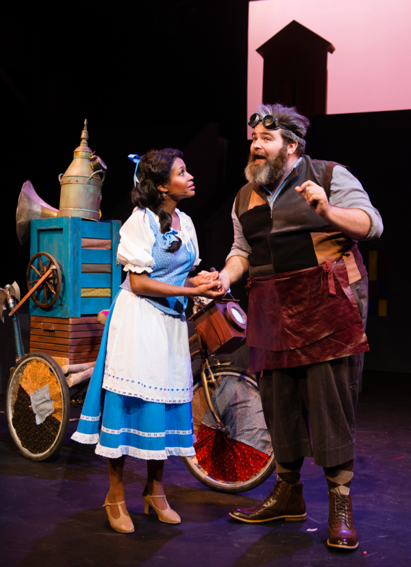 Belle (JANELLE LASALLE) encourages her inventor father, Maurice, (MATT STANDLEY) in Berkeley Playhouse's production of Disney's Beauty and the Beast, directed by Kimberly Dooley. Performing at the Julia Morgan Theater now through December 23, 2016. Photo